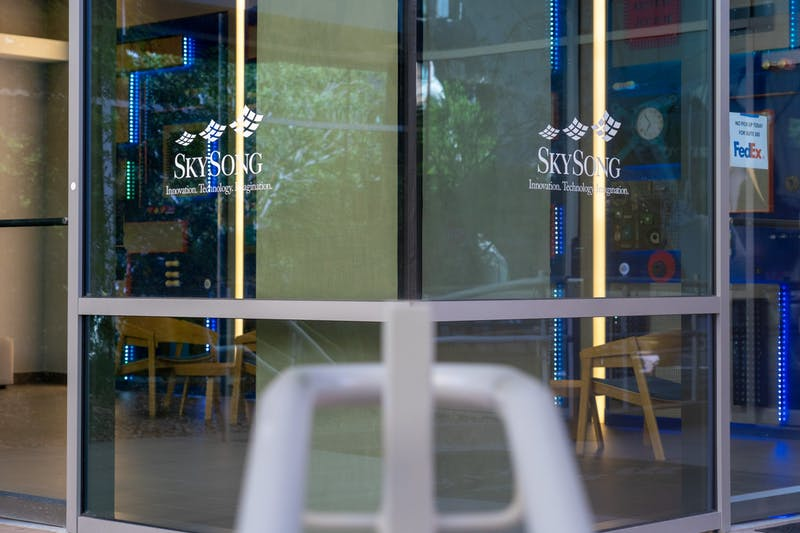 Glass doors at Skysong in Scottsdale are pictured