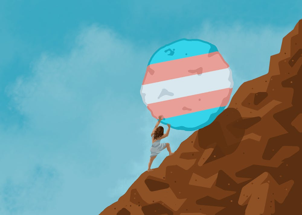 A person pushes a boulder with the Transgender Flag up a mountain.