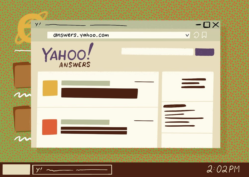 An illustration of Yahoo! Answers an often frequented site for jokes, memes and the occasional real answer.