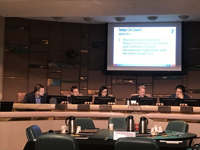 Tempe City Council discusses tax rebates at a meeting in Tempe, Arizona on Thursday, Jan. 11, 2018.