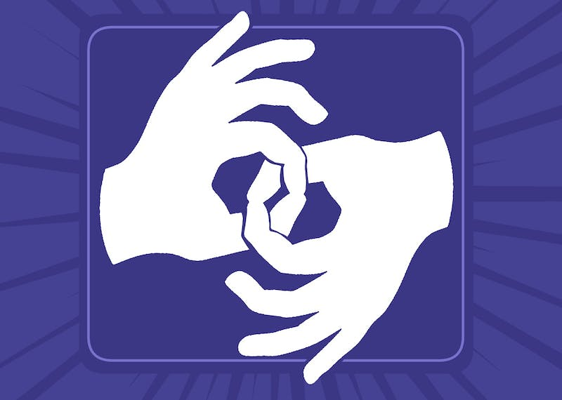 An illustration of the international symbol for signing with hands interlocked.