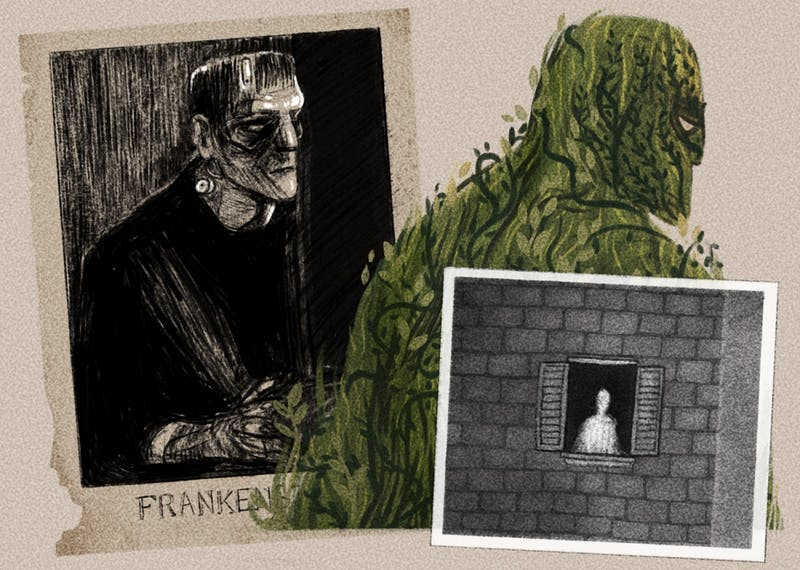 An illustration of a creepy Frankenstein and other monsters
