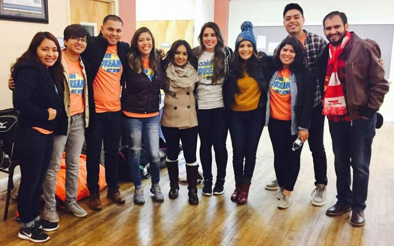 Perla Martinez (second from left) poses with other members of the Undocumented Students for Educational Equity (USEE) club in Washington, D.C., in Dec. 2017.