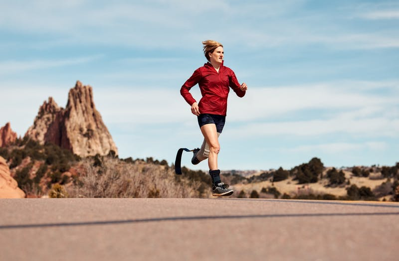 Allyssa Seely runs in the desert
