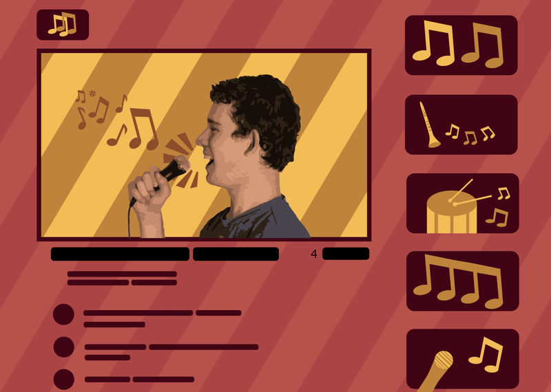 An illustration of a student singing on an online video, looking for a creative outlet in isolation.