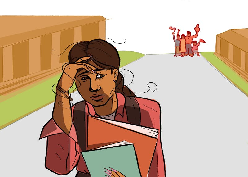 An illustration of a first generation student looking stressed.