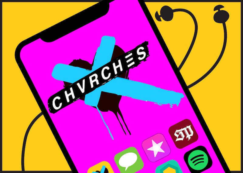 A phone with CHVRCHES logo on it and various music listening apps.
