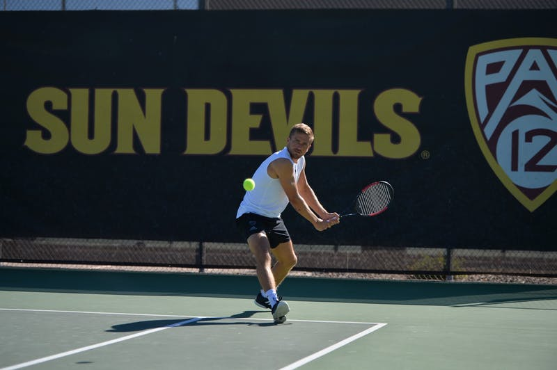 Nathan Ponwith hits the ball against Pepperdine