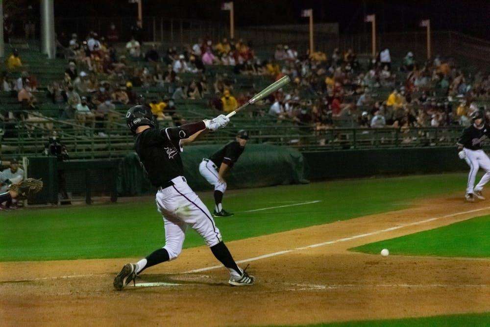 Joe Lampe (5) bats against UA
