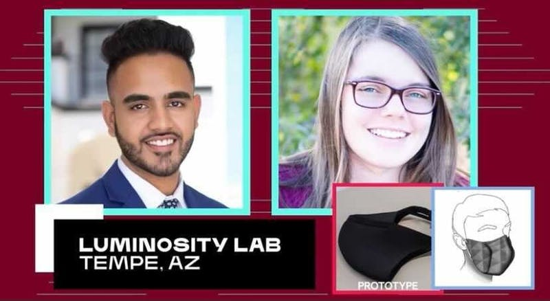 Two of the five members of Team Luminosity Lab, Nikhil Dave and Katie Pascavis, are pictured during a presentation shown at the livestreamed announcement of the winners of the XPRIZE competition on Dec. 22, 2020.