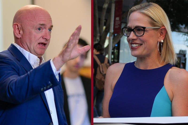 A photo illustration of Senators Mark Kelly and Kyrsten Sinema