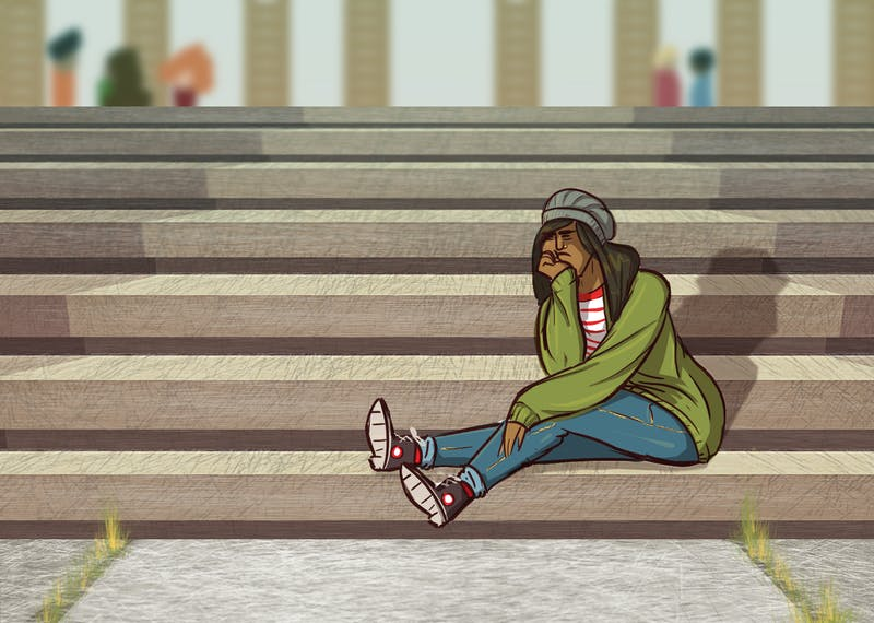 An illustration of a person with an invisible disability that can't climb stairs.
