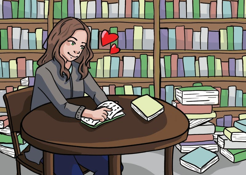 An illustration of the author, Brenna Toshner, reading a book in a library.