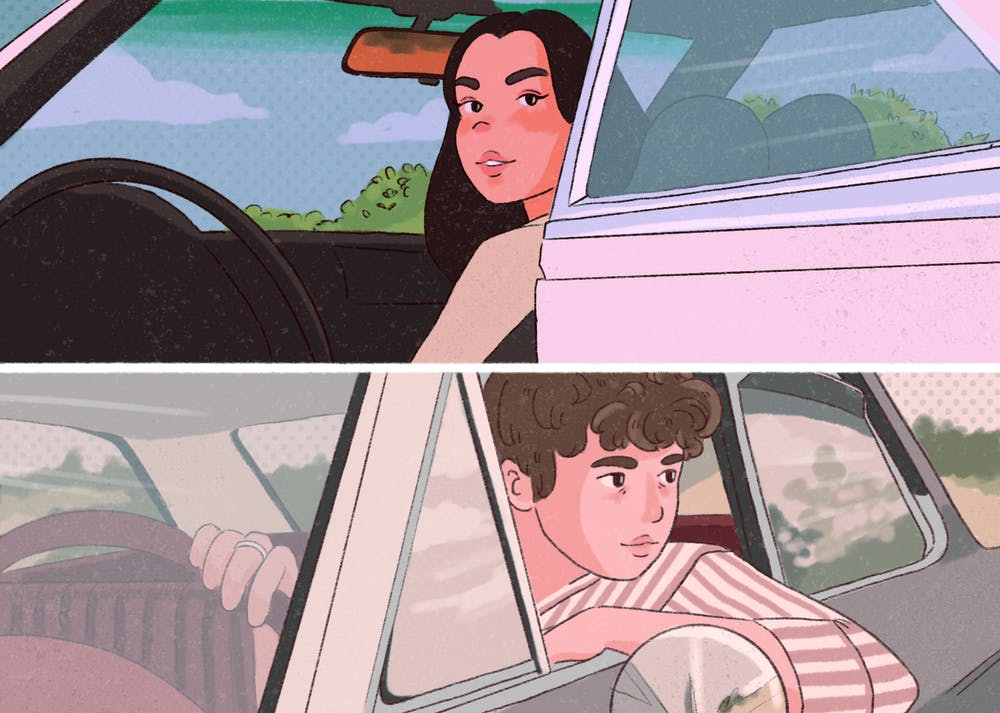 An illustration of Olivia Rodrigo and Josh Bassett, each looking out from their cars as featured in their music videos.