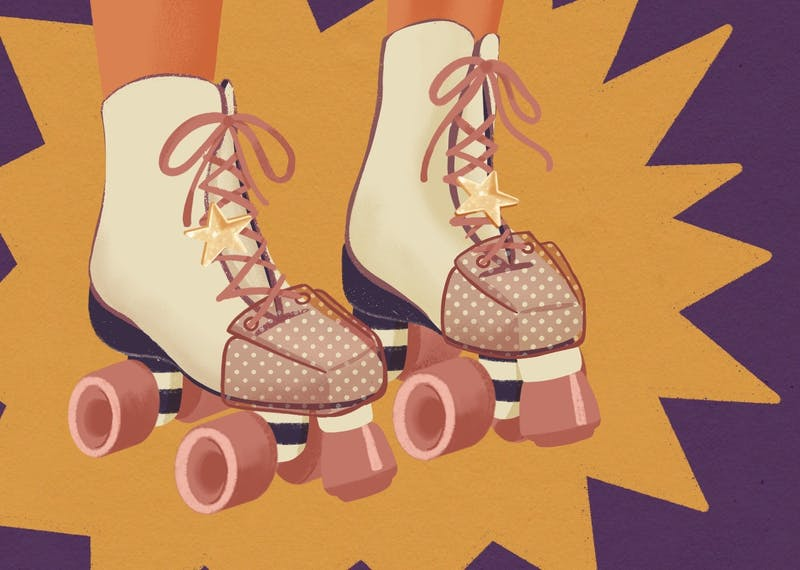 An illustration of stylish roller skates.