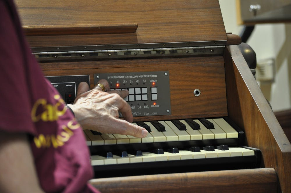 Judith Smith plays the Carillon instrument.