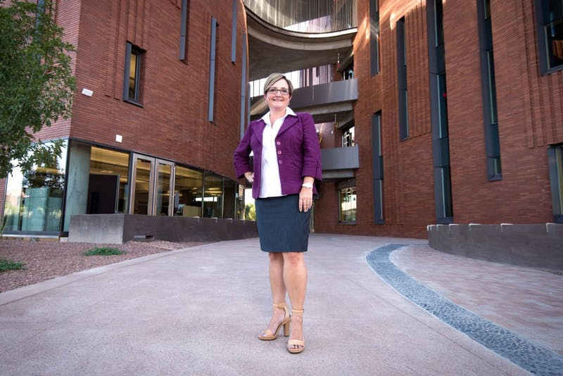 Amy Hillman, Dean of the W.P. Carey School of Business, poses for a portrait on the Tempe campus in 2016.