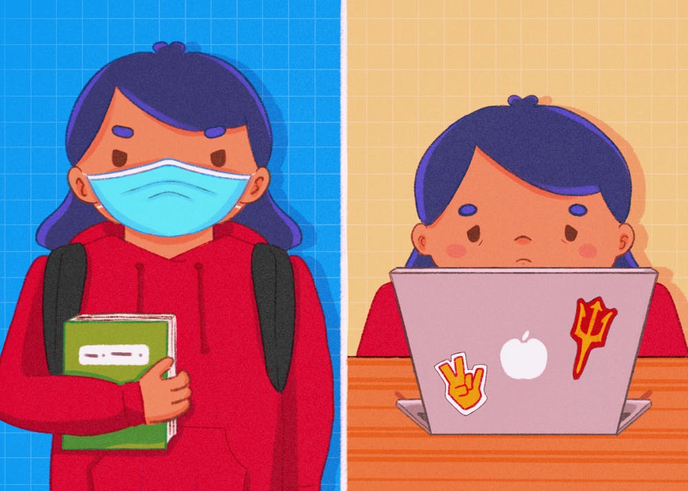 An illustration showing a student tired walking to class and tired on their laptop due to no breaks.