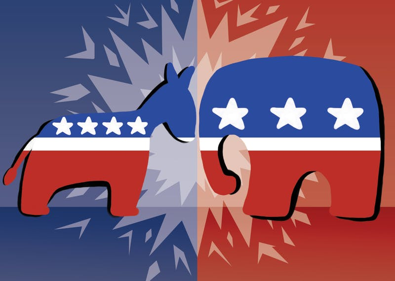 An illustration of a donkey, representing the democrats, and an elephant, representing the republicans, butting heads.