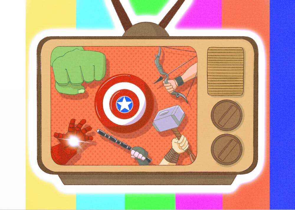 An illustration of Marvel's avengers on a TV screen.