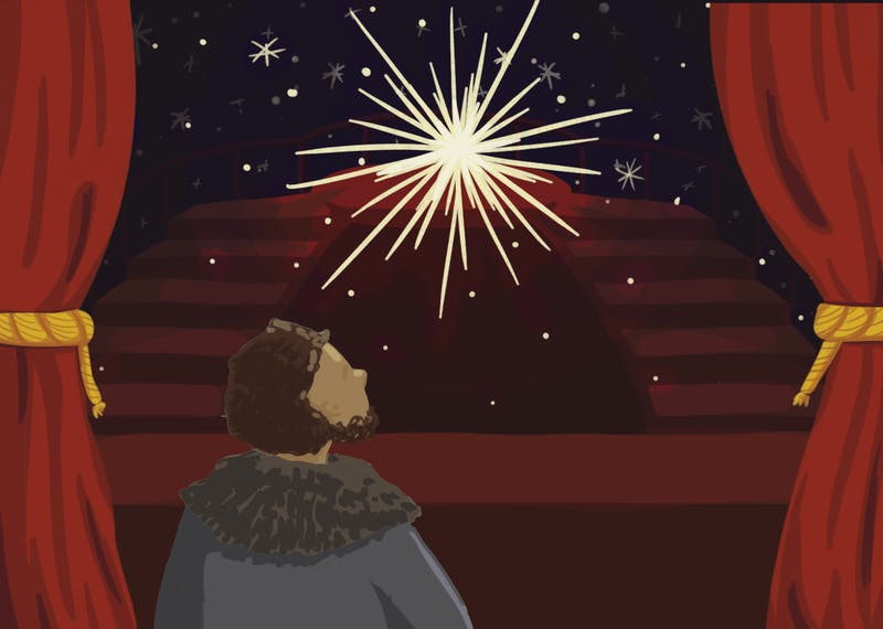 An illustration of Pierre looking at the Great Comet as it rises over the stage.