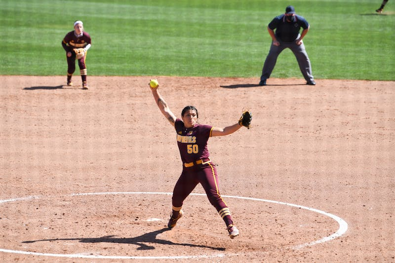 Cielo Meza (50) pitches against Baylor
