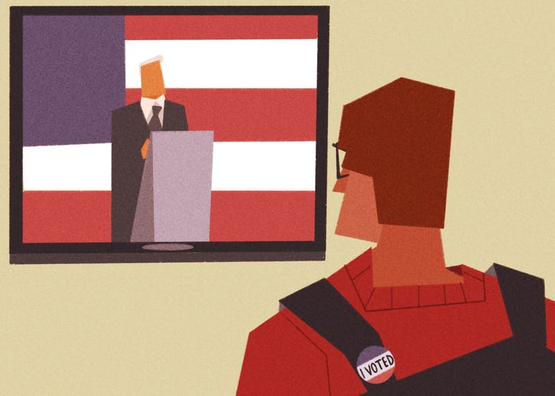 An illustration of a voting citizen watching President Donald Trump on TV.