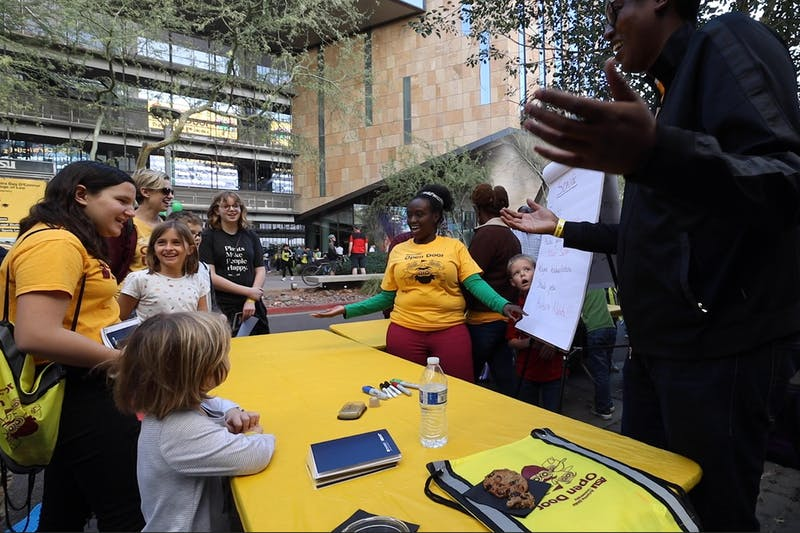 ASU Thunderbird students teach families different languages of the world on the downtown campus on February, 8 2020.