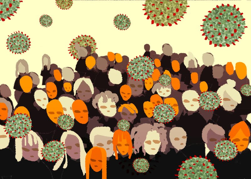 An illustration of a group of anti maskers in a crowd spreading COVID-19 due to the lifted restrictions.