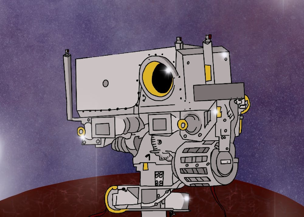 An illustration of the perseverance rover and Mastercam-Z camera on Mars.
