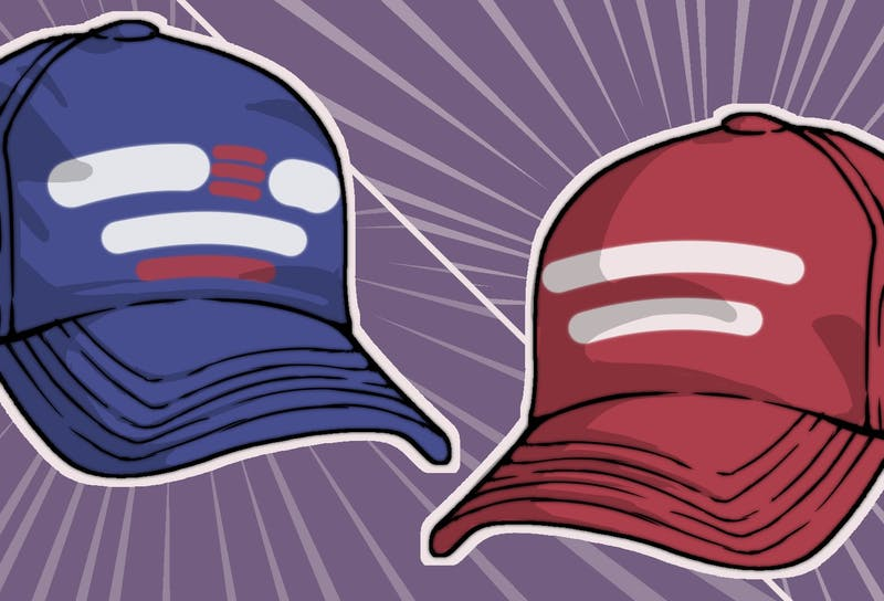 Two hats, one red and one blue, representing the two major political parties.