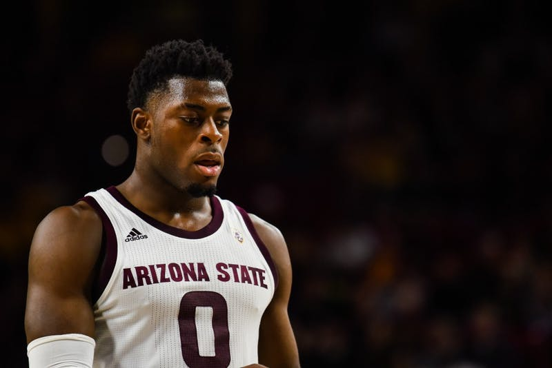ASU freshman guard Luguentz Dort (0) takes a free throw as ASU defeats Texas Southern University 83-71 in the Wells Fargo Arena in Tempe, Arizona on Saturday, Dec. 1, 2018.