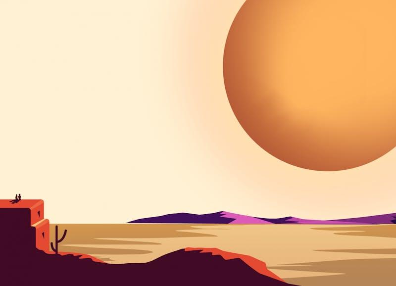 A large sun shines over a desert.