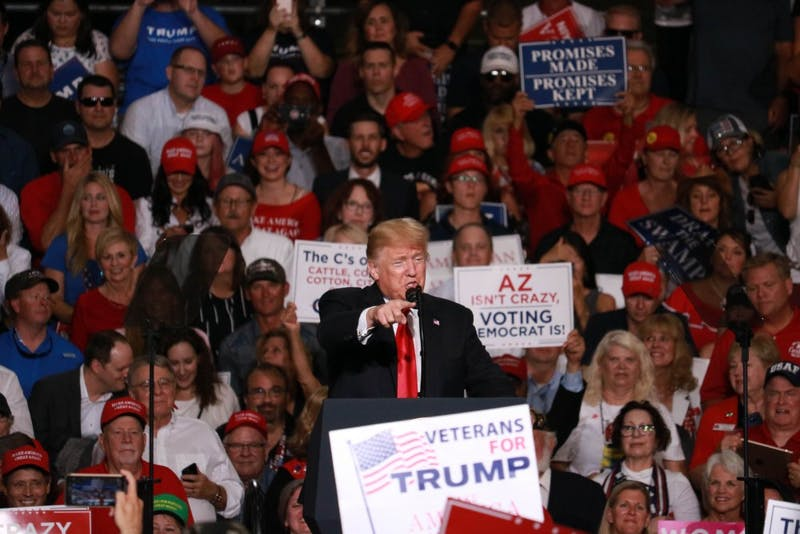 Trump revisits campaign talking points in rally for McSally, Republicans.