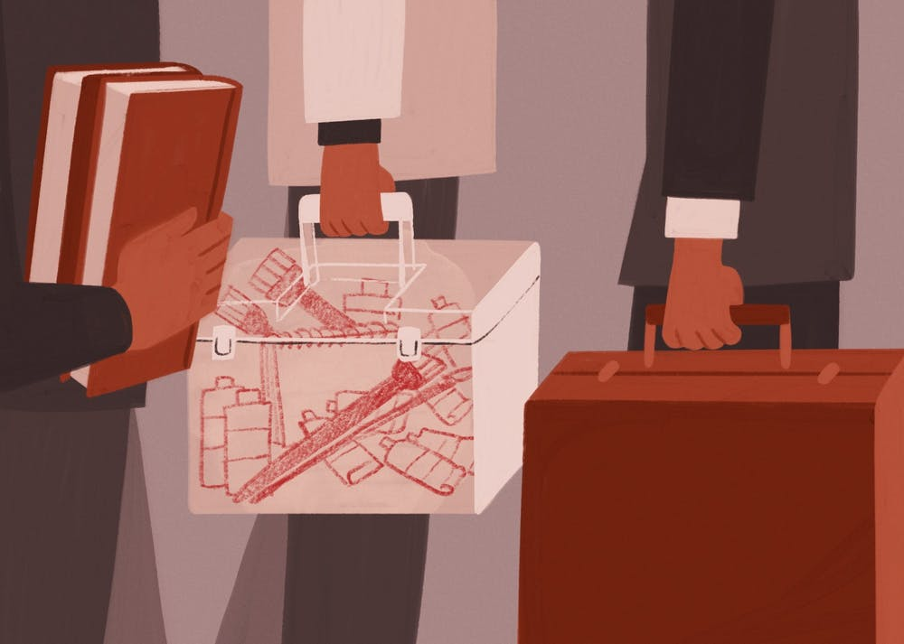 An illustration of downtown workers, one with paints and brushes in their suitcase.