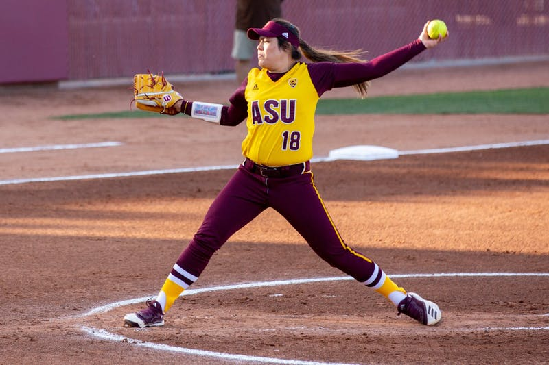 Lindsay Lopez (18) pitches the ball during a game against Lehigh