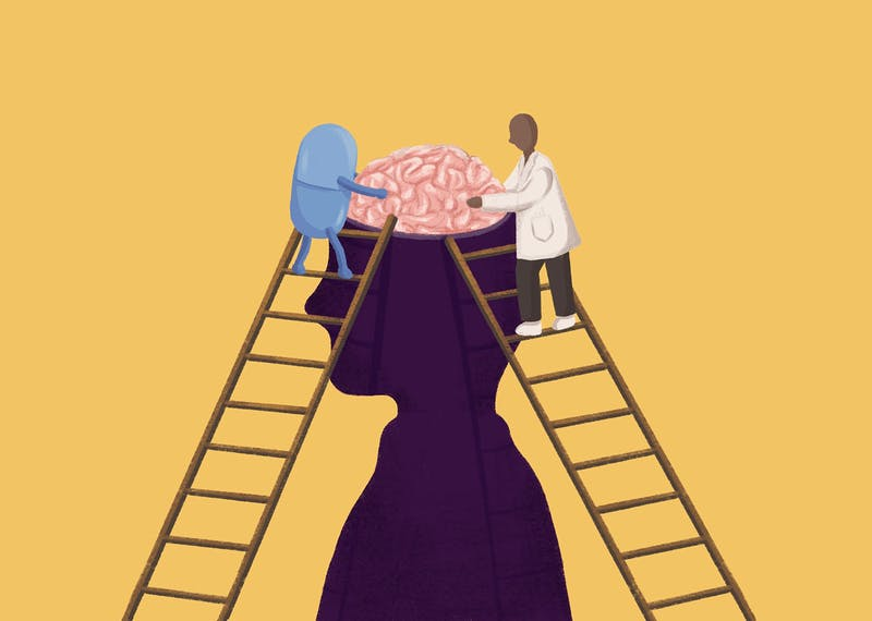An illustration of a pill and a doctor fixing a brain.
