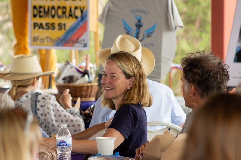 Kris Mayes is pictured at the Yavapai Democrats' Annual Picnic