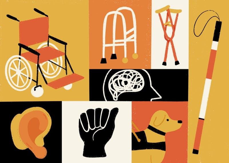 An illustration depicting various disabilities in an inclusive way.