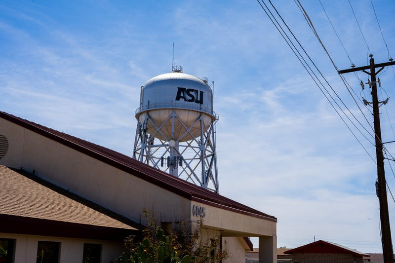 The water tower on the ASU Polytechnic is shown.