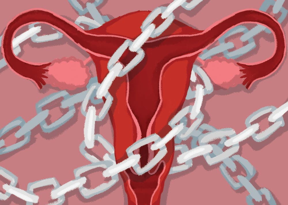 A uterus with chains wrapped around it.