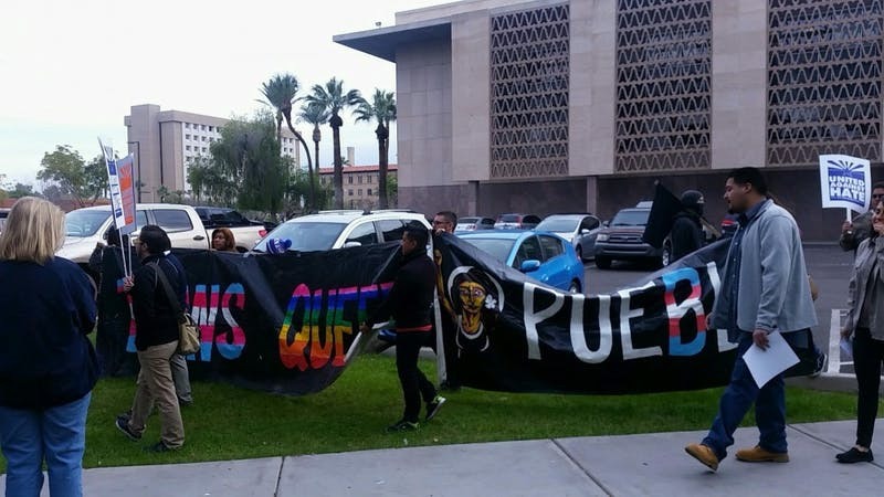 AZ legislature opening protest Trans Queer Pueblo