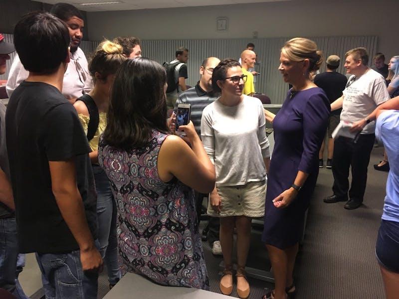 Kelli Ward interacting with members of ASU's Turning Point USA club