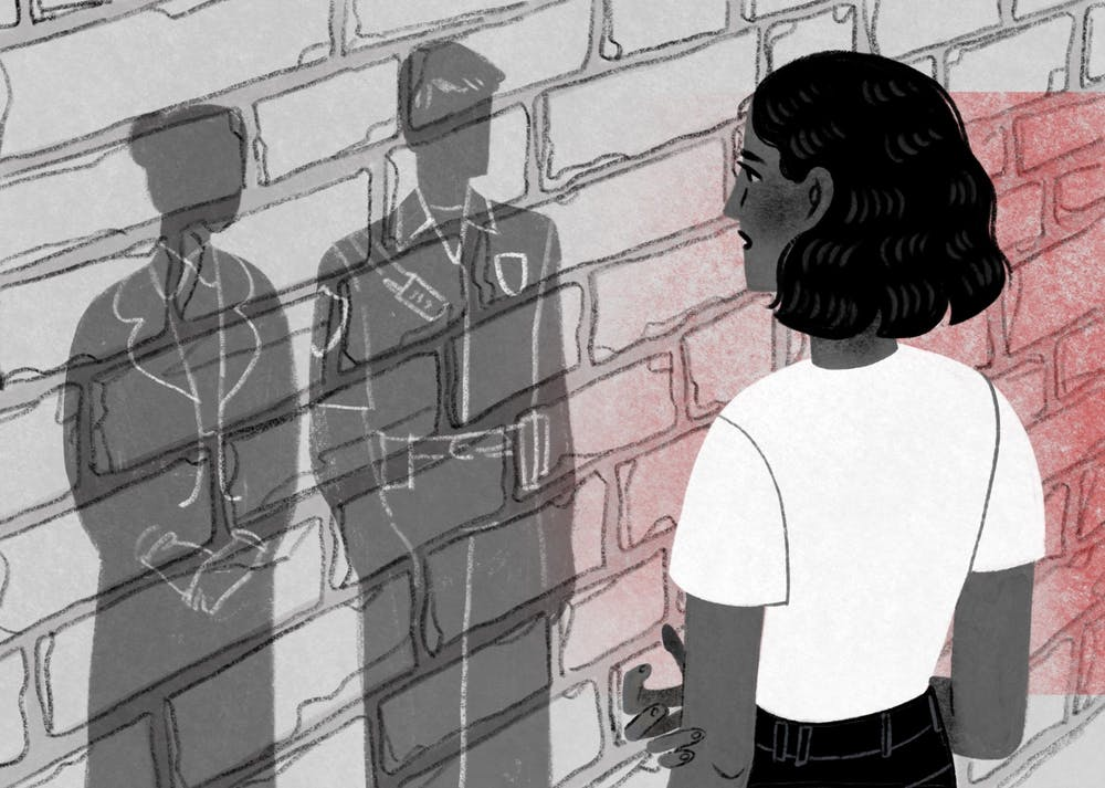 An illustration of a sexual assault survivor looking at a judge and police officer on the other side of a brick wall.