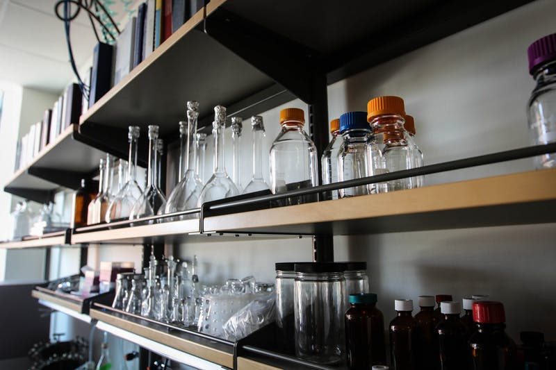 In this undated State Press file photo, beakers used in university research are pictured in storage in an ISTB laboratory on the Tempe campus.