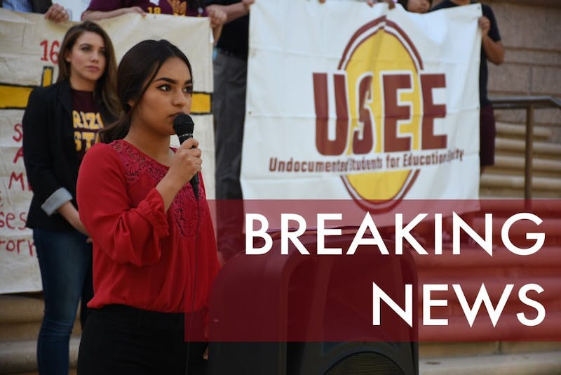 ASU freshman Jocelyn Lopez gives a speech regarding DACA recipients receiving in-state tuition outside the Arizona Supreme Court on Monday, April 2, 2018.
