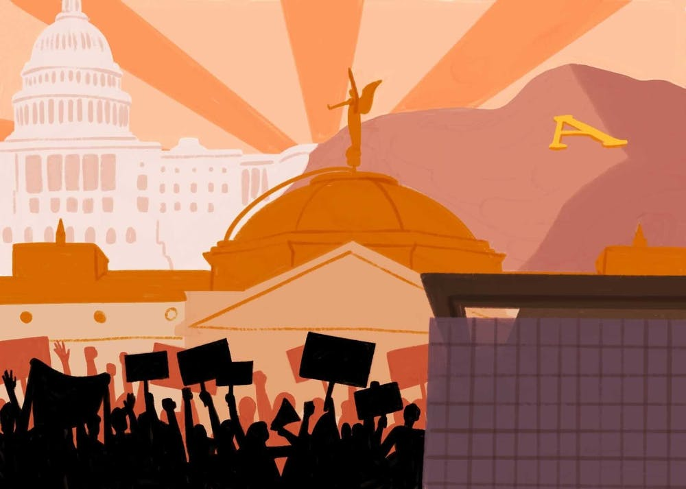 An illustration depicting politics in Arizona, ASU and Washington.
