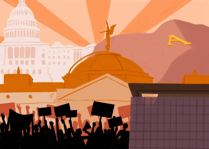 An illustration depicting politics in Arizona, ASU and Washington.