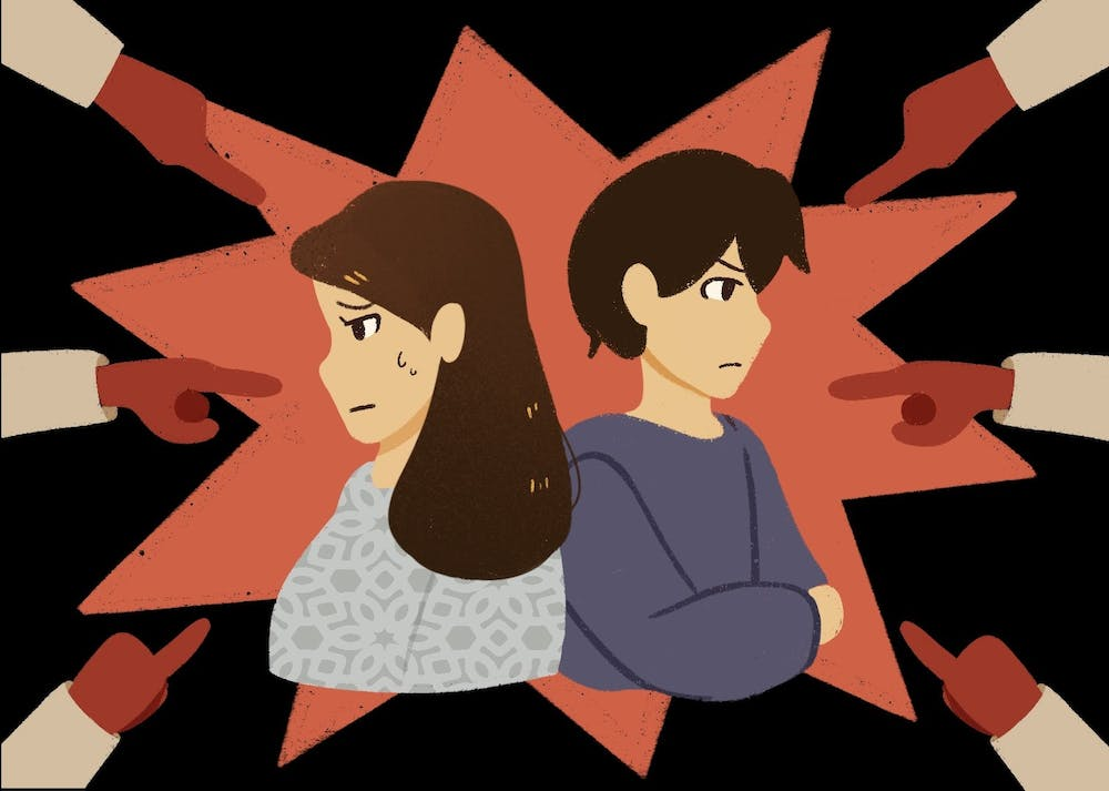 An illustration of two Asian students with fingers pointing at them.