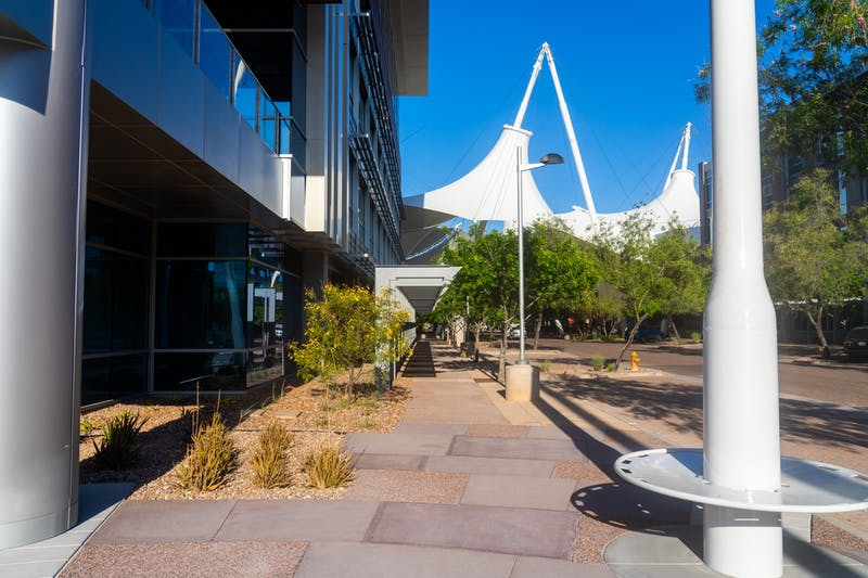 A walkway outside SkySong, the ASU Innovation center in Scottsdale, is shown.